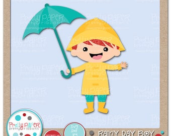 Rainy Day Boy Cutting Files & Clip Art - Instant Download