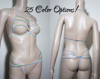 Amanda Body Harness Rainbow Cage Bra & Crotchless Panties Crotchless Thong Strappy Bra Top Gay Pride Festival Harness Rainbow Lingerie Cage