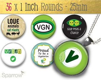 Vegetarian and Vegan Love - One (1x) Inch or 25mm Round Pendant Images - Digital Collage Sheet - Buy 2 Get 1 Free - Instant Download