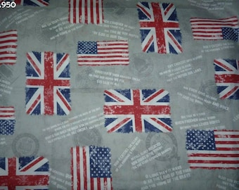 Fabric C950 great English and American flags on gray coupon 50x70cm