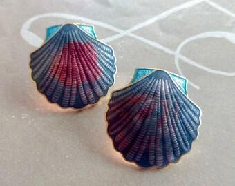 Vintage Enamel Shell Earrings, Shell Earrings, Beach Jewelry, Vintage Jewelry, Enamel Earrings, Multicolor Enamel Earrings, Gifts for Mom