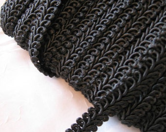 """Black French Gimp, Braid - 1/2"""" Wide  -  More Available"""