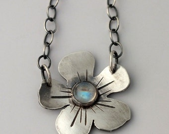 Rainbow Moonstone and Sterling Silver Wild Geranium Necklace, Flower Necklace