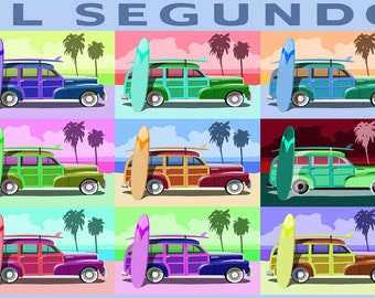 El Segundo, California - Woody Pop Art (Art Prints available in multiple sizes)