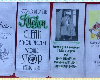 Set of (4)~Funny Kitchen Towels-bridal gift-housewarming gift-co worker gift-Ain't nobody got time for that