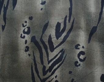 "ANIMAL FABRIC  Jungle Footprints on Olive Green Alexander Henry Last 34"" Piece - #K5"