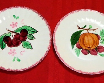 Blue Ridge Southern Potteries COUNTY FAIR RED 2 Salad Plates Hand Painted Cherries Apple