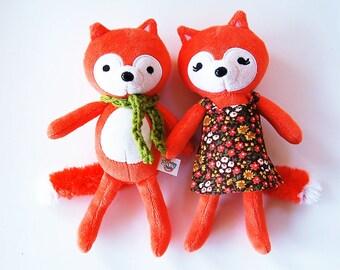 Woodland Fox Set - Woodland Stuffed Animal Set Of Two - Love Valentine