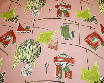 """Stunning Rosy Pink Eames Atomic Unused Mid Century Vintage Barkcloth Fabric with Lanterns and Mobiles - 44"""" wide by 34"""" long"""