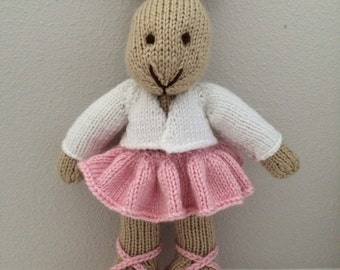 Knitted Ballerina - Ballet Bunny -Knitted Bunny Rabbit in Ballet outfit - Stuffed Bunny - Stuffed Animal - Soft Toy - Knitted Bunny
