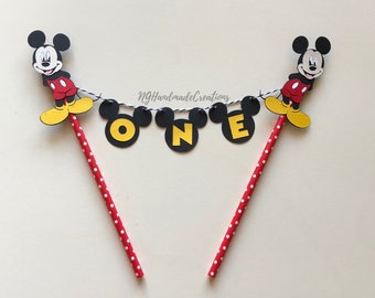 Mickey Mouse cake topper bunting