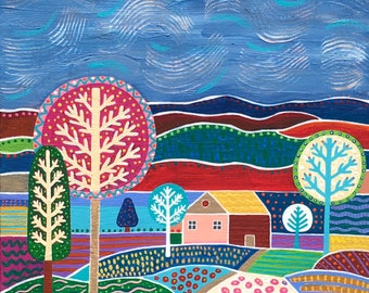 wall art, acrylic art, landscape whimsical painting on canvas trees and bright art, colorful art home decor by Angela Sharkey