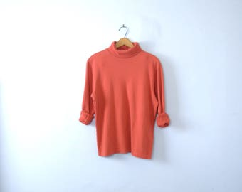 Vintage 90's plain coral turtleneck long sleeved shirt, women's size medium