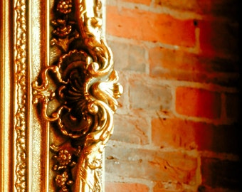 Fine Art Photography, ornate gold frame, frame, frame detail, red brick wall, burnt red, gold, architecture, Home Decor,  Fine Art Print