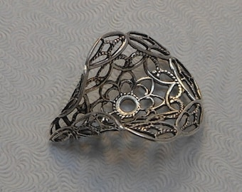 LuxeOrnaments Large Oxidized Sterling Silver Plated Brass Filigree Bead Cap 22x22mm (1 pc) S-3851-S