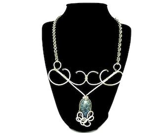 Blue Lapis Necklace, Bib Necklace, Lapis Lazuli Necklace, Edwardian Necklace, Silver Necklace, Victorian Necklace, Wire Wrap Necklace