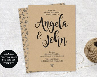 Editable Wedding Invitation Template, Instant Download, Wedding Invitation,  Microsoft Word Format (docx), Instant Download,