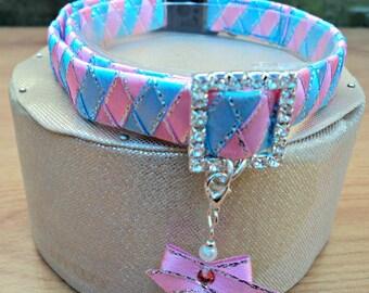 "Large Cat Collar 1/2"" wide with Fashionable Shamballa Bead Charm"