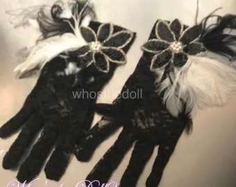 Lace gloves/Gatsby gloves/Flapper gloves/wedding/sequined gloves/Black and White gloves/bridal gloves/evening gloves/Flapper accessories