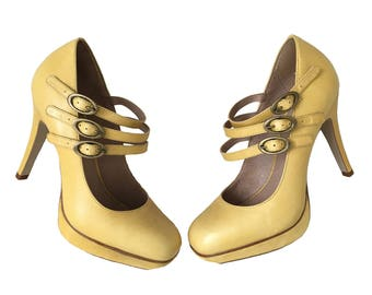 Mary Jane shoes, Yellow shoes, ladies shoes UK 6 EU 39, vintage shoes, high heel shoes, yellow leather shoes, vintage Mary Janes, platform