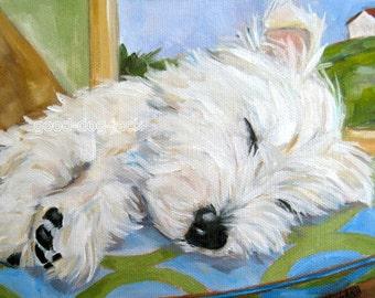 "Westie Dog West Highland Terrier WESTIE Dog Art 8x10 MATTED PRINT Painting ""Little Angel""- Denise Randall - Good Dog Jack"