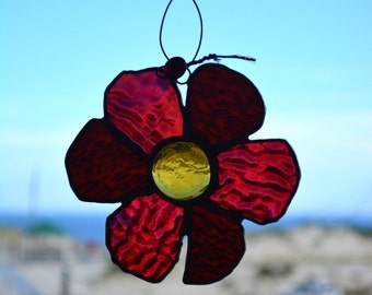 Ruby Red Stained Glass Flower Suncatcher