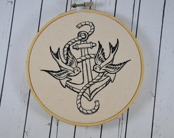 Retro Swallows and Anchor Wall Art, Embroidered Hoop Art, Retro Tattoo Decor Art