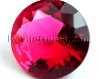 2 Pcs 15mm Round Glass Jewel  Faceted Diamond Cut Unfoiled, Undrilled - Rose Series