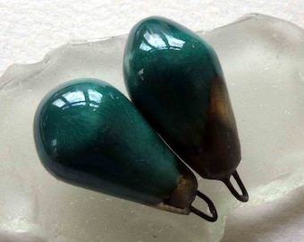 Ceramic Drops Earring Charms - Emerald