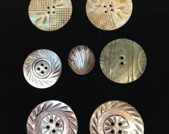 7 vintage Mother of Pearl shell buttons