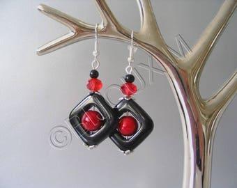 Red and black diamond earrings