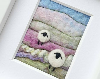 Felted sheep landscape scene - Miniature fiber art created in Felting and Embroidery - an original gift for a sheep fan