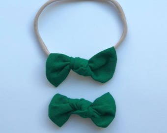 Knot Bow, Green, nylon headband, alligator clip, infant, toddler, baby gift