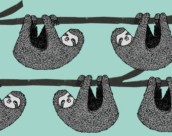 sloth fabric by Andrea Lauren -  mint grey black and white gender neutral kids