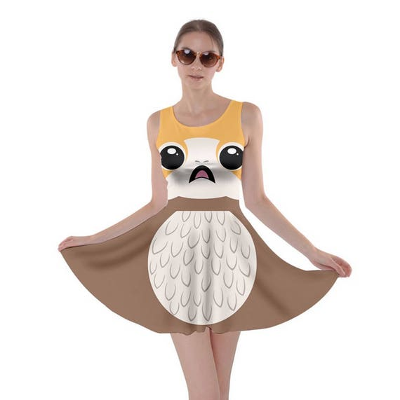 Star Wars Dress Porg Skater Dress Gold Porg Cosplay Dress