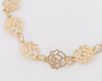 Matte Gold 6.5mm Rose Chain #CC137