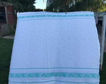 Vintage Jadeite Green and White Damask Tulips Curtain Tier