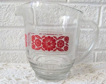 Vintage Glass Pitcher.  Glass Jug With Red Floral Design. Clear Glass Pitcher With Folk Art Flower Pattern. Large Glass Jug.