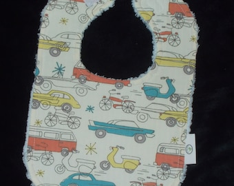 Organic Retro Cars and Chenille Bib