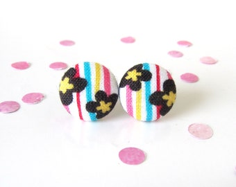 Bright fabric earrings - tiny button earrings - happy stud earrings - nickel free - colorful studs - kids gift - white yellow blue red black