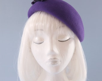 Ultra Violet Beret. Velour Fur Felt Hat with Black Beaded Bow. Purple Hat for Girls. Couture Millinery. One Size Fits All. Cute Felt Beret.