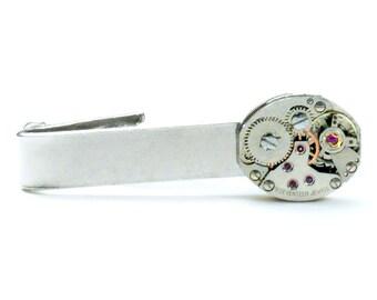 Steampunk Vintage Watch Movement Tie Bar Alligator Clip