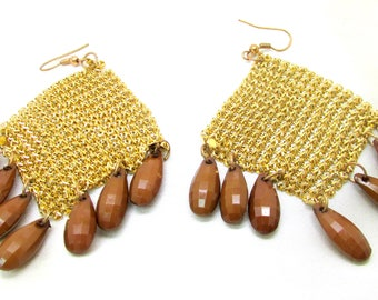 Vintage Gold Metallic Mesh Beaded Dangle Pierced Earrings