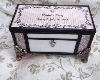 stained glass baptism christening memory keepsake jewelry shabby chic cottage chic box
