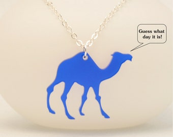 FREE SHIPPING Laser Cut Camel Necklace, Hump Day Camel Jewelry, Quirky Necklace, Handmade Gift under 20, Personalized Jewelry