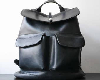 HandMade Black LEATHER BACKPACK  / Handcrafted Cowhide leather Rucksack with two front pockets / Black leather bag
