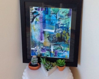 9x12 original abstract  acrylic painting window to my world by Metis artist Christy Ziehl Mallett