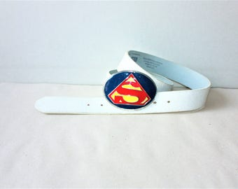 Vintage SUPERMAN Comics Leather Belt with Metal Buckle...a Fashionista Statement Piece can fit for Size S /// M