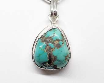 Turquoise Pendant. Webbed Turquoise. Sterling Silver Turquoise Pendant. Blue Turquoise Necklace. Genuine Turquoise. Turquoise Necklace. 1138