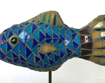 Small Blue Fish Mosaic Garden Stake